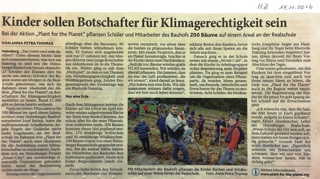 Plant for planet Zeitung mittel